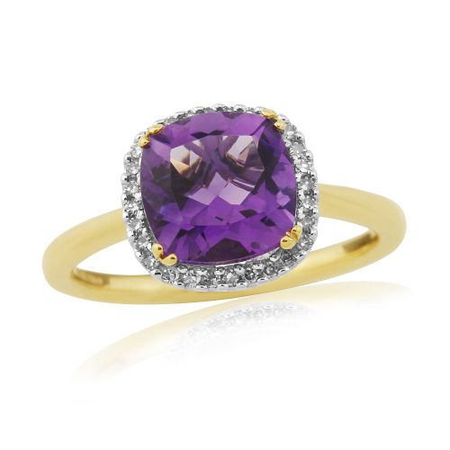 Cushioned Shape Amethyst And Diamond Ring 9 Carat Yellow Gold Cluster Dress Ring